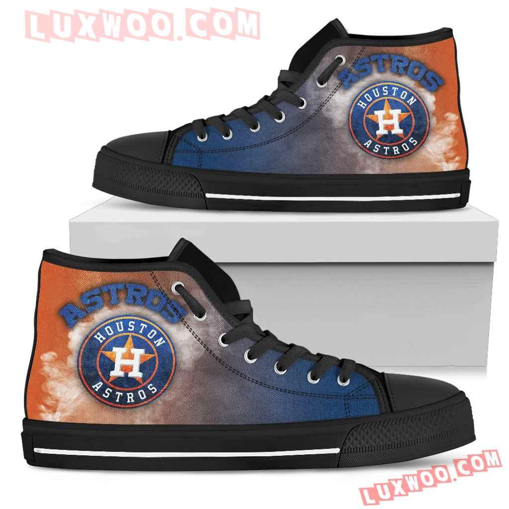 White Smoke Vintage Houston Astros High Top Shoes