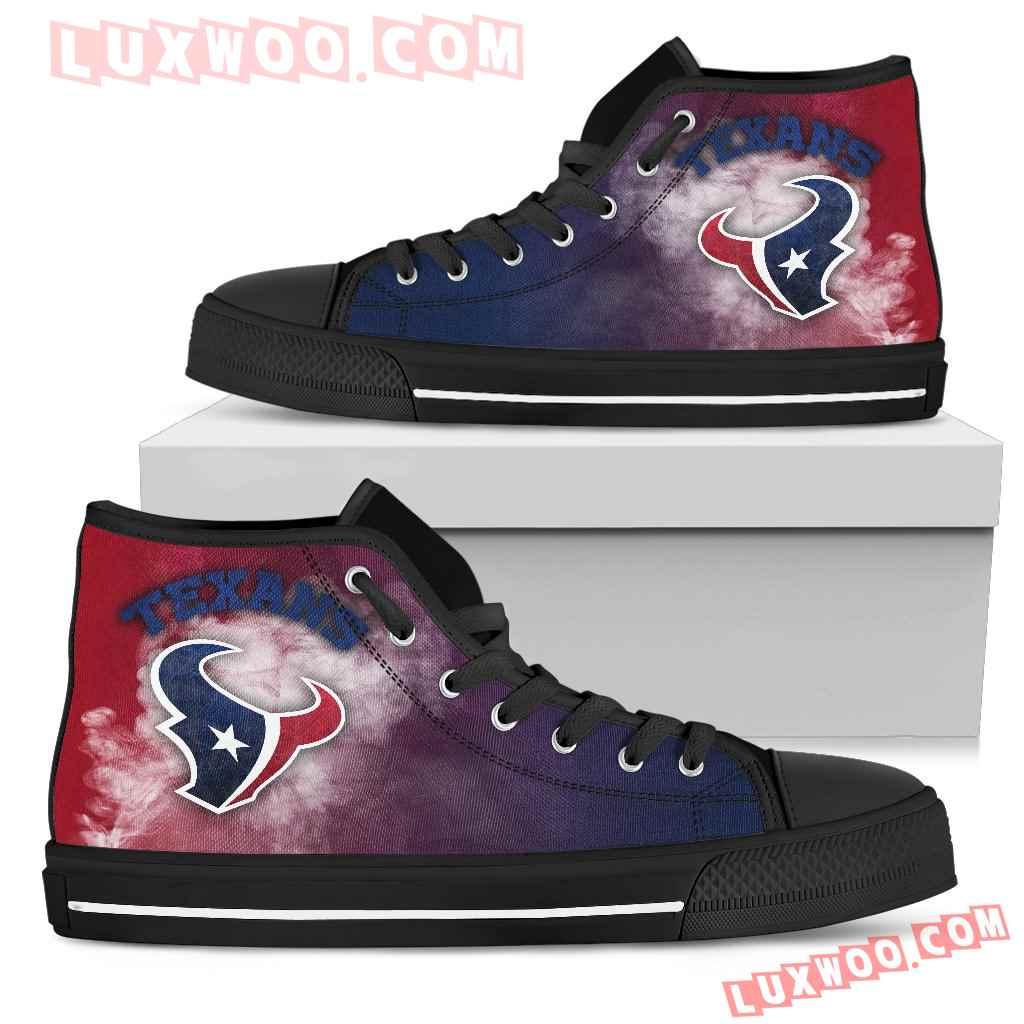 White Smoke Vintage Houston Texans High Top Shoes