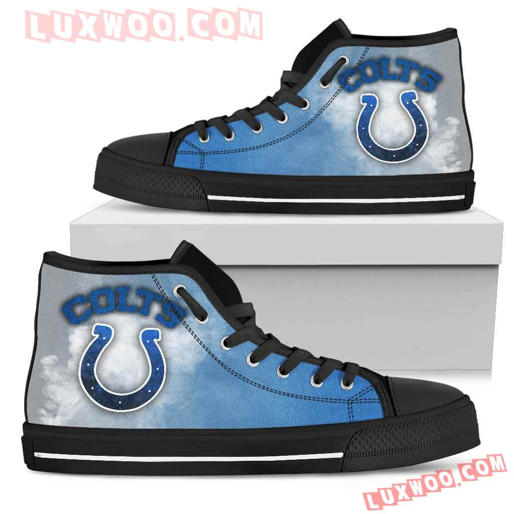 White Smoke Vintage Indianapolis Colts High Top Shoes