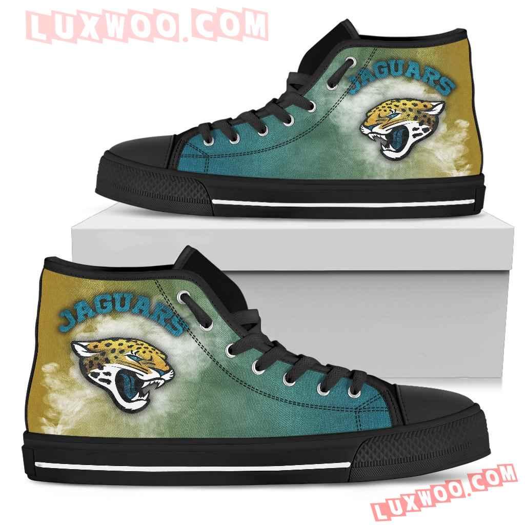 White Smoke Vintage Jacksonville Jaguars High Top Shoes