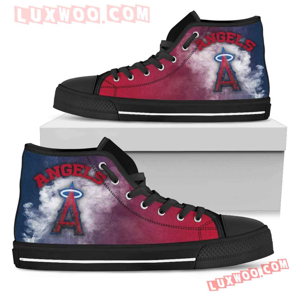 White Smoke Vintage Los Angeles Angels High Top Shoes
