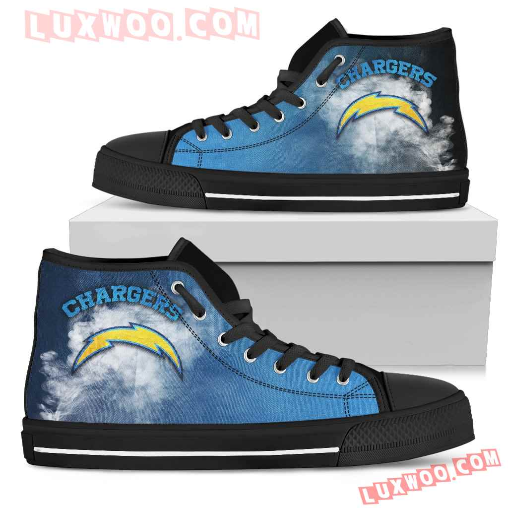White Smoke Vintage Los Angeles Chargers High Top Shoes