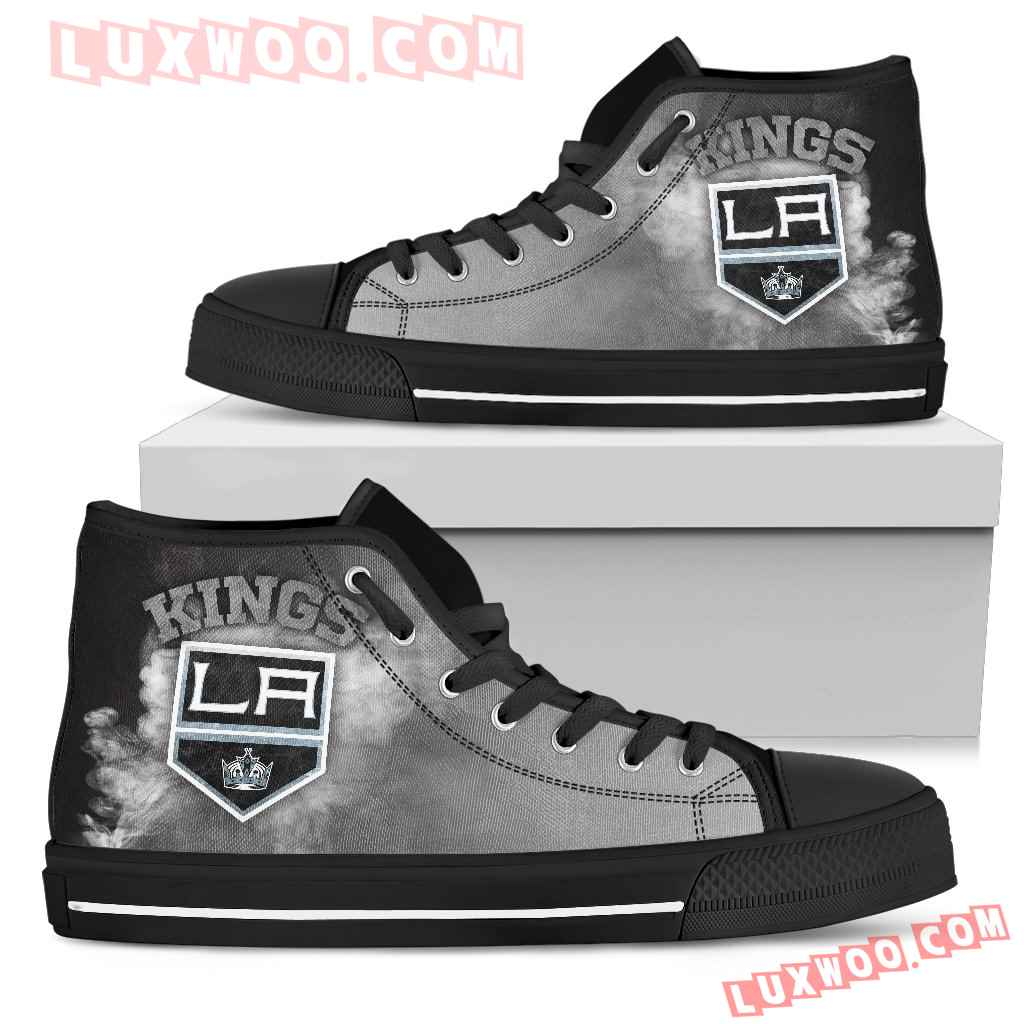 White Smoke Vintage Los Angeles Kings High Top Shoes