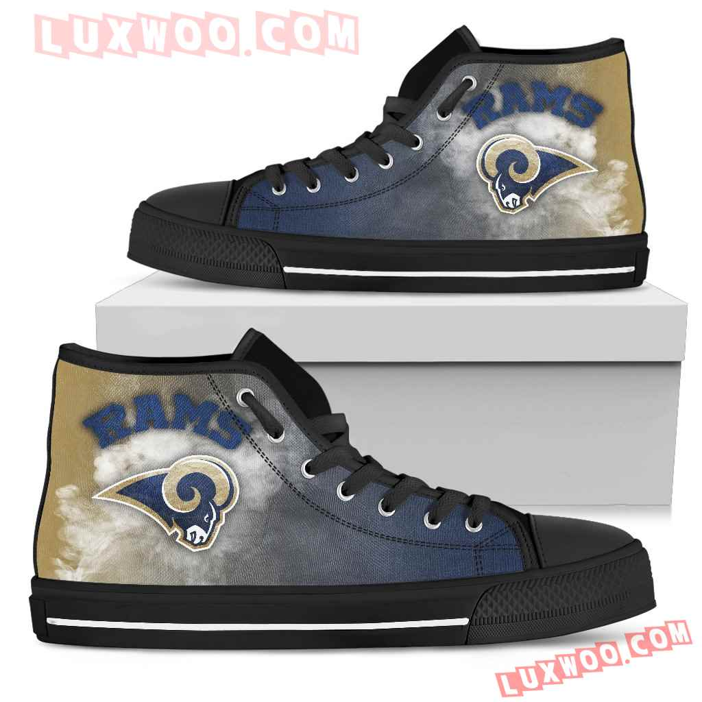 White Smoke Vintage Los Angeles Rams High Top Shoes