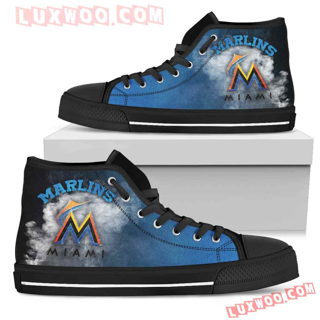 White Smoke Vintage Miami Marlins High Top Shoes