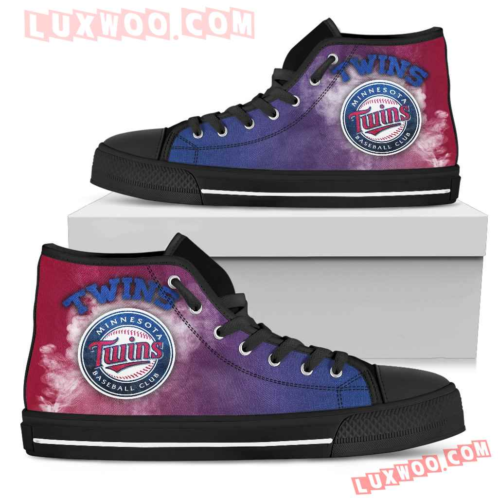 White Smoke Vintage Minnesota Twins High Top Shoes