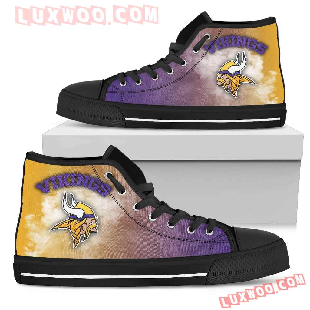 White Smoke Vintage Minnesota Vikings High Top Shoes