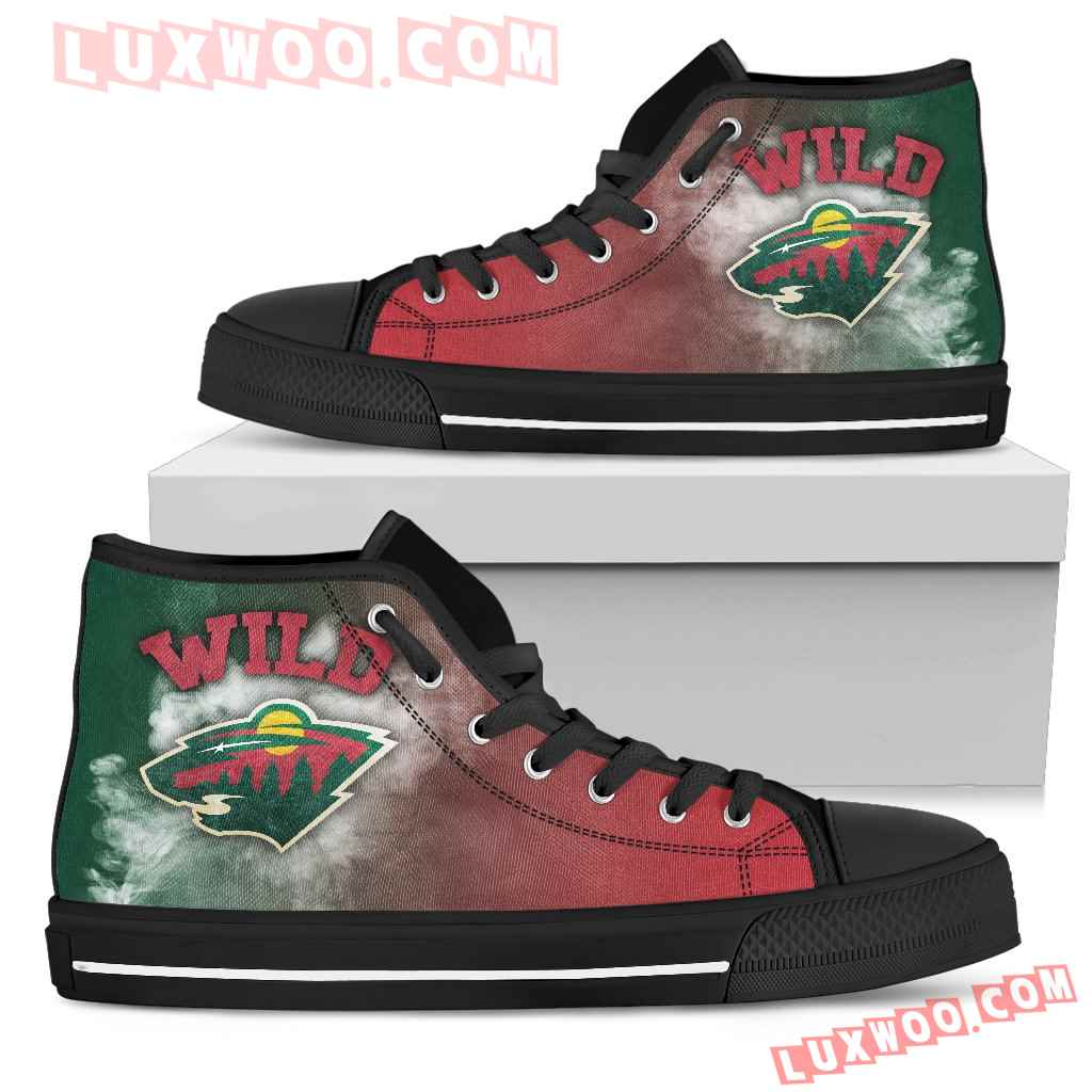White Smoke Vintage Minnesota Wild High Top Shoes