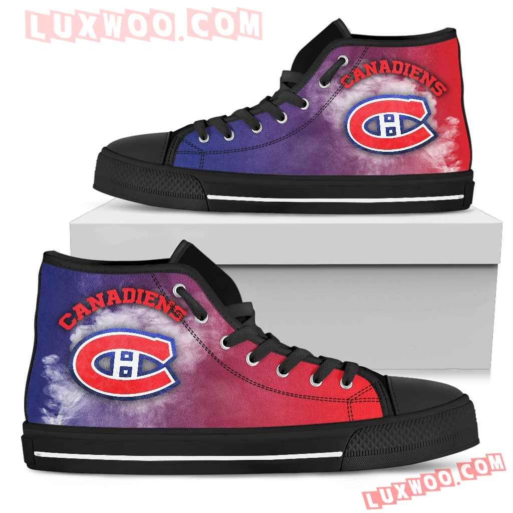 White Smoke Vintage Montreal Canadiens High Top Shoes