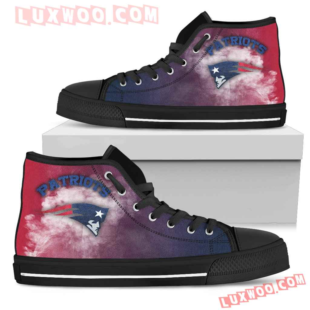 White Smoke Vintage New England Patriots High Top Shoes