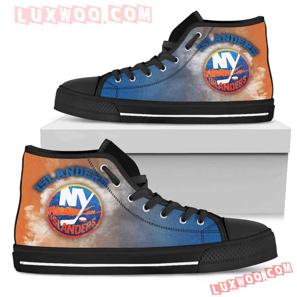White Smoke Vintage New York Islanders High Top Shoes