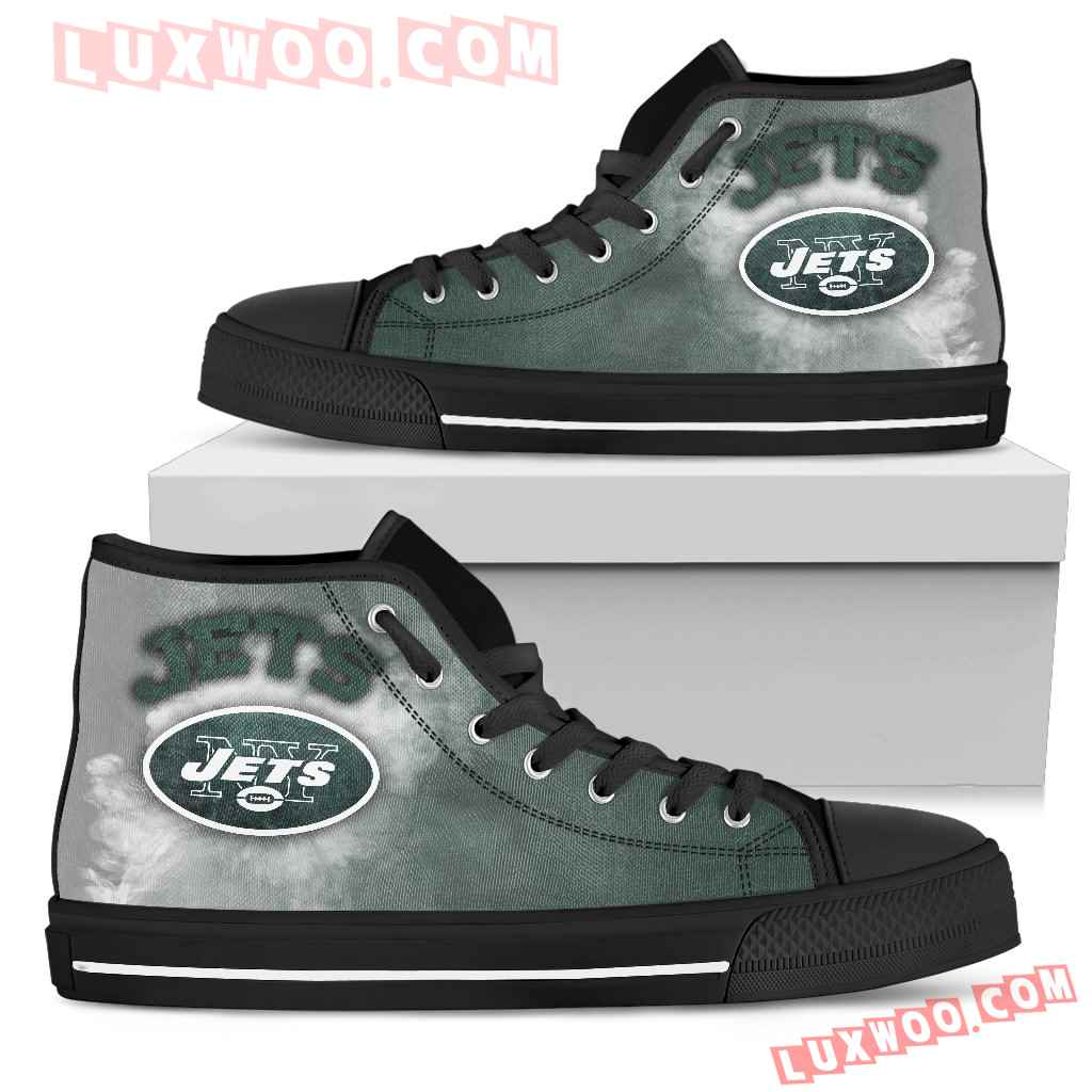 White Smoke Vintage New York Jets High Top Shoes