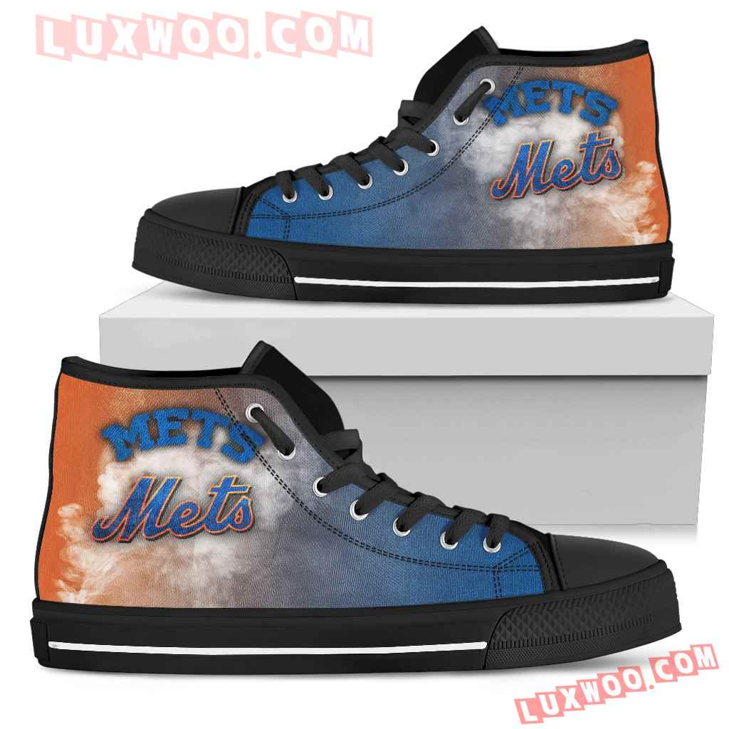 White Smoke Vintage New York Mets High Top Shoes
