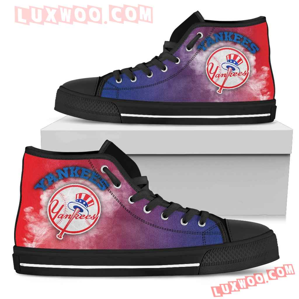 White Smoke Vintage New York Yankees High Top Shoes