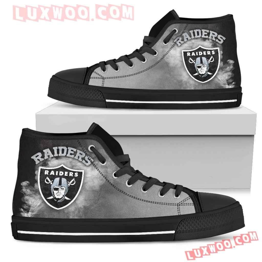 White Smoke Vintage Oakland Raiders High Top Shoes