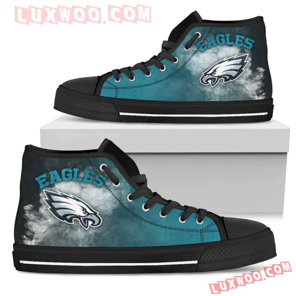 White Smoke Vintage Philadelphia Eagles High Top Shoes