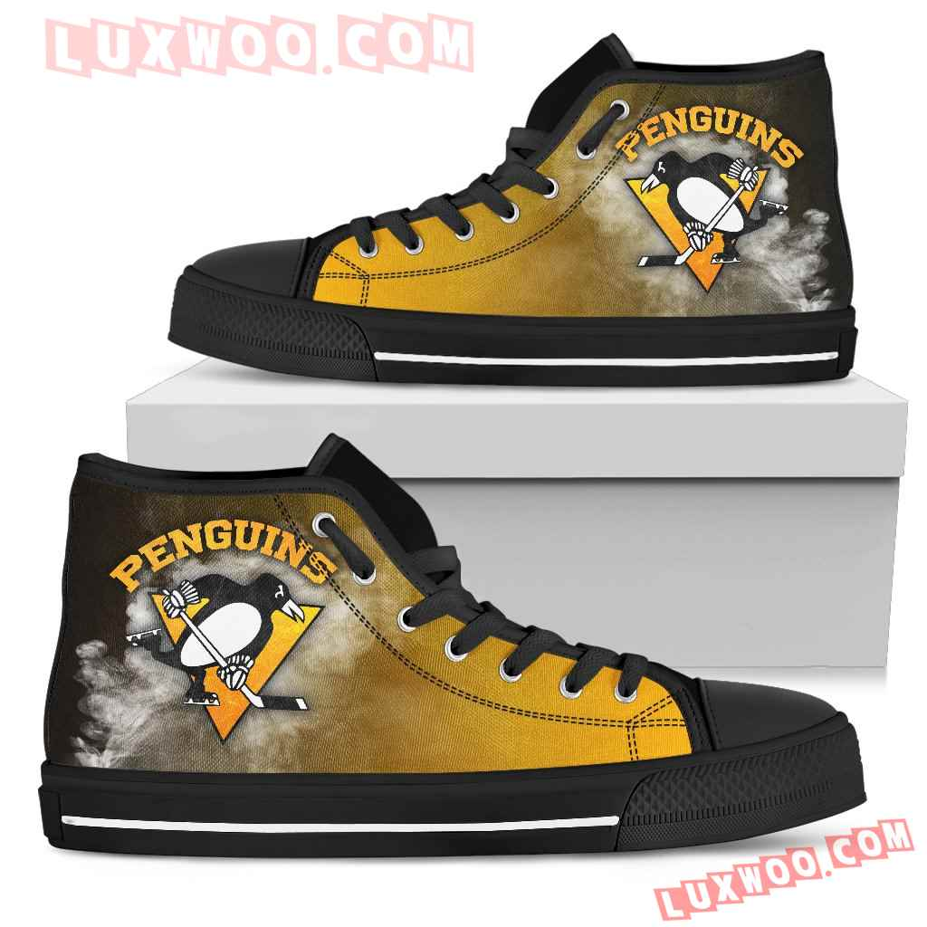 White Smoke Vintage Pittsburgh Penguins High Top Shoes