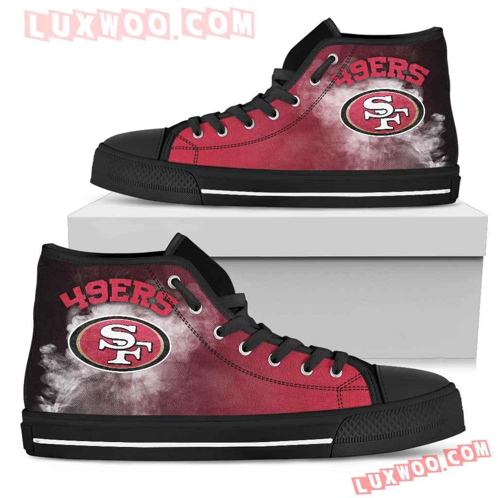 White Smoke Vintage San Francisco 49ers High Top Shoes
