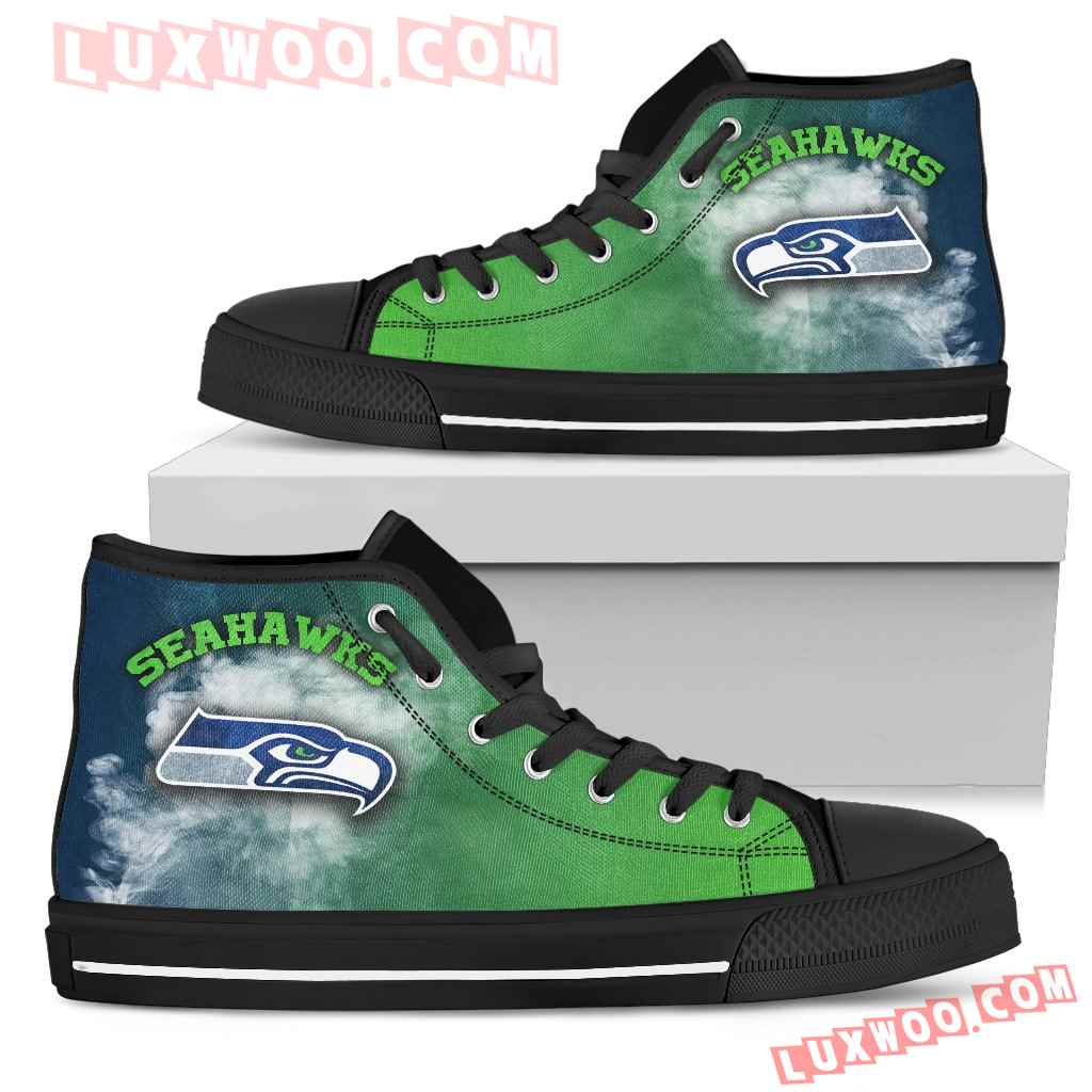 White Smoke Vintage Seattle Seahawks High Top Shoes
