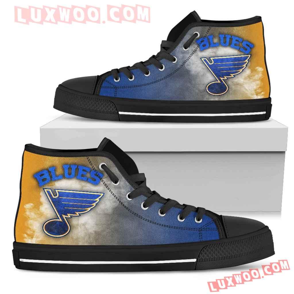 White Smoke Vintage St Louis Blues High Top Shoes