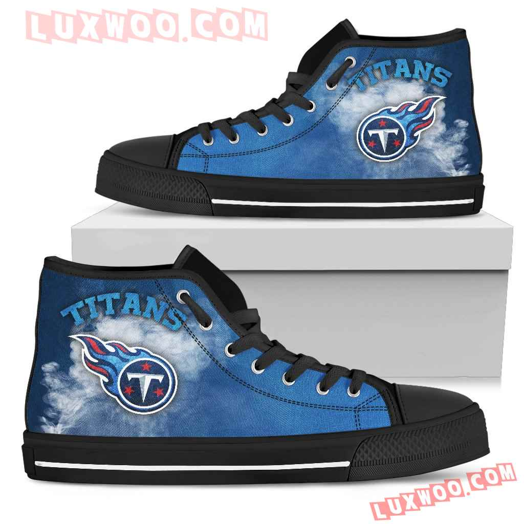 White Smoke Vintage Tennessee Titans High Top Shoes