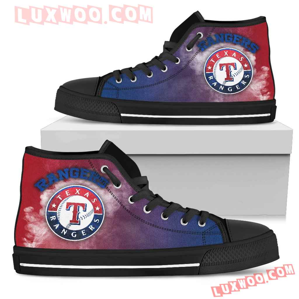 White Smoke Vintage Texas Rangers High Top Shoes