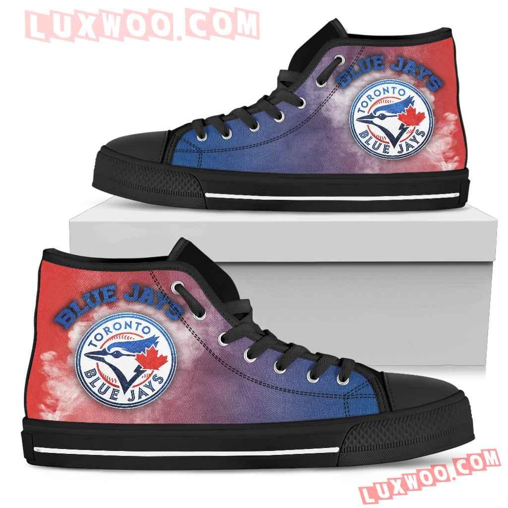 White Smoke Vintage Toronto Blue Jays High Top Shoes
