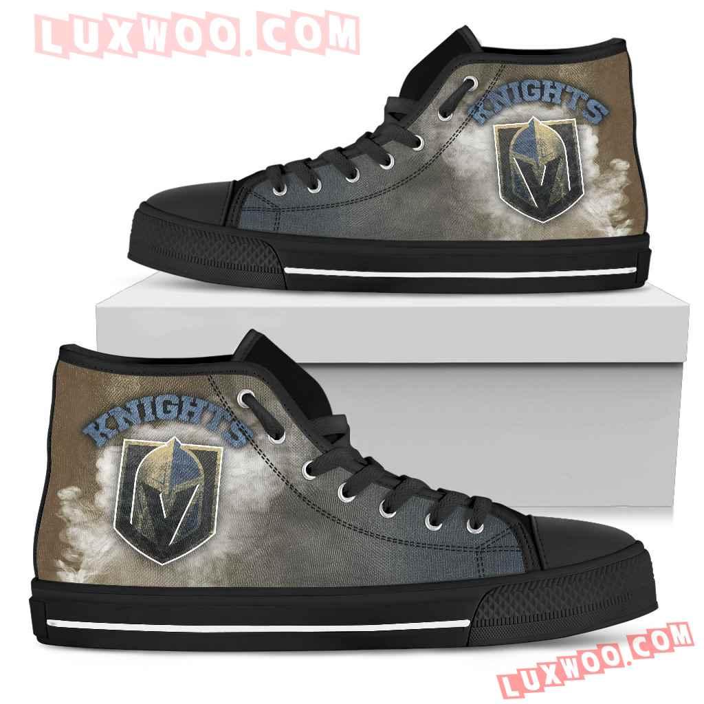White Smoke Vintage Vegas Golden Knights High Top Shoes