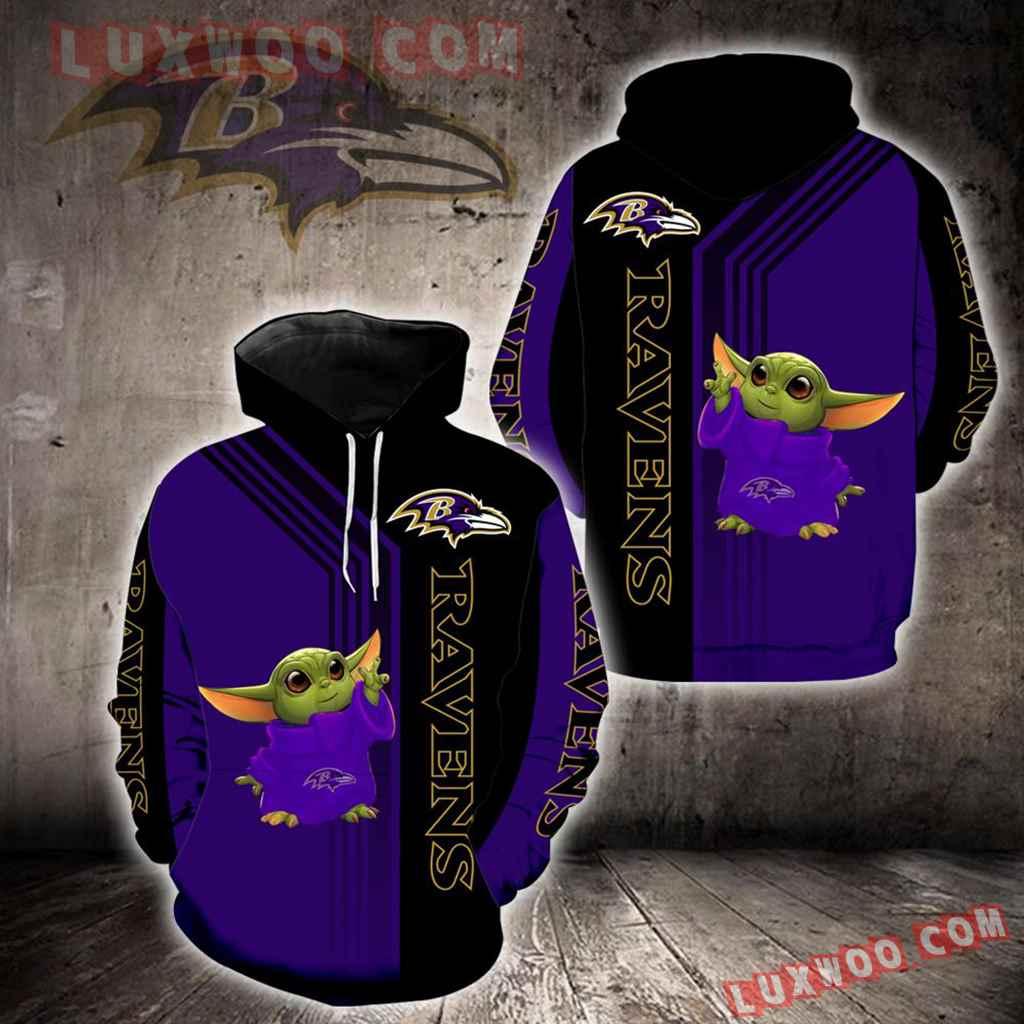 Baltimore Ravens Baby Yoda Green New Full All Over Print K1255
