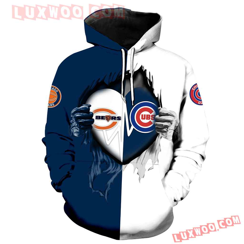 Chicago Bears Chicago Cubs 3d Hoodie All Over Print V1173 1