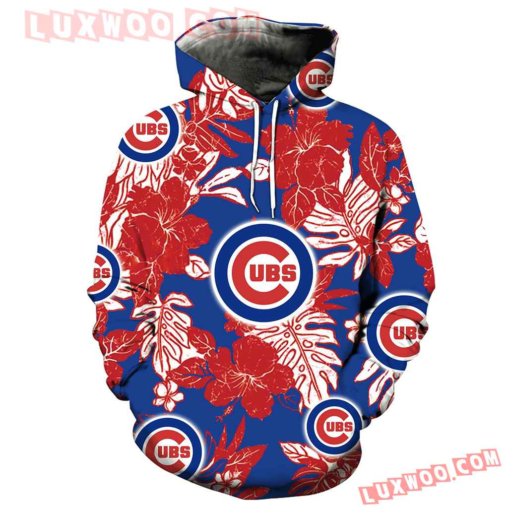 Chicago Cubs Hawaiian Tropical Flower 3d Hoodie New Full All Over Print V1577