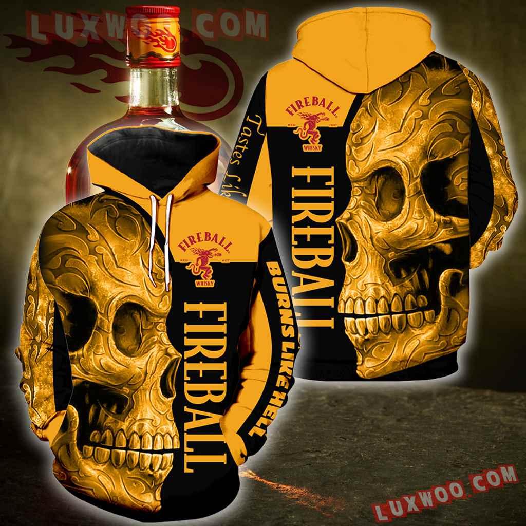 Fireball Cinnamon Whisky New Skull Full All Over Print V1401