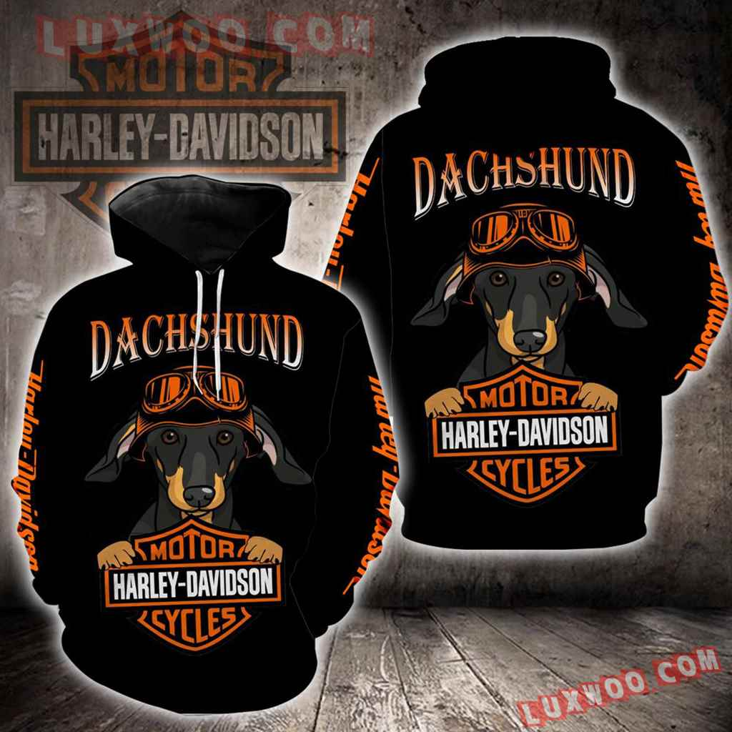 Harley Davidson Dachshund Dog New All Over Print K1415