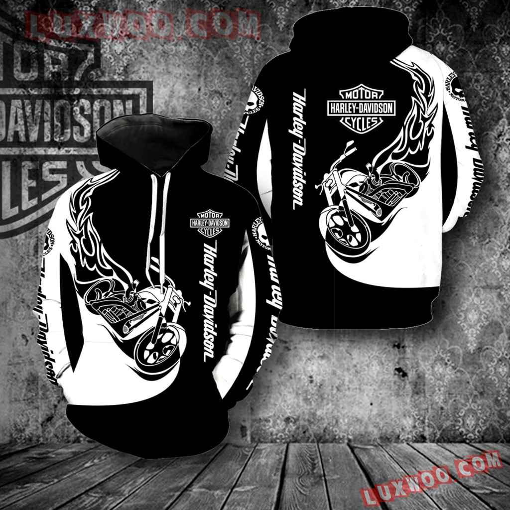 Harley Davidson Motorcycle Black White New All Over Print V1270