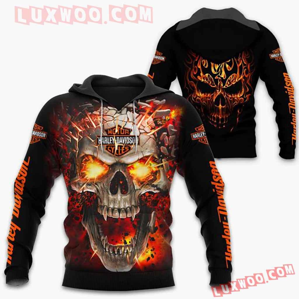 Harley Davidson Motorcycle Fire Skull Full All Over Print K3047