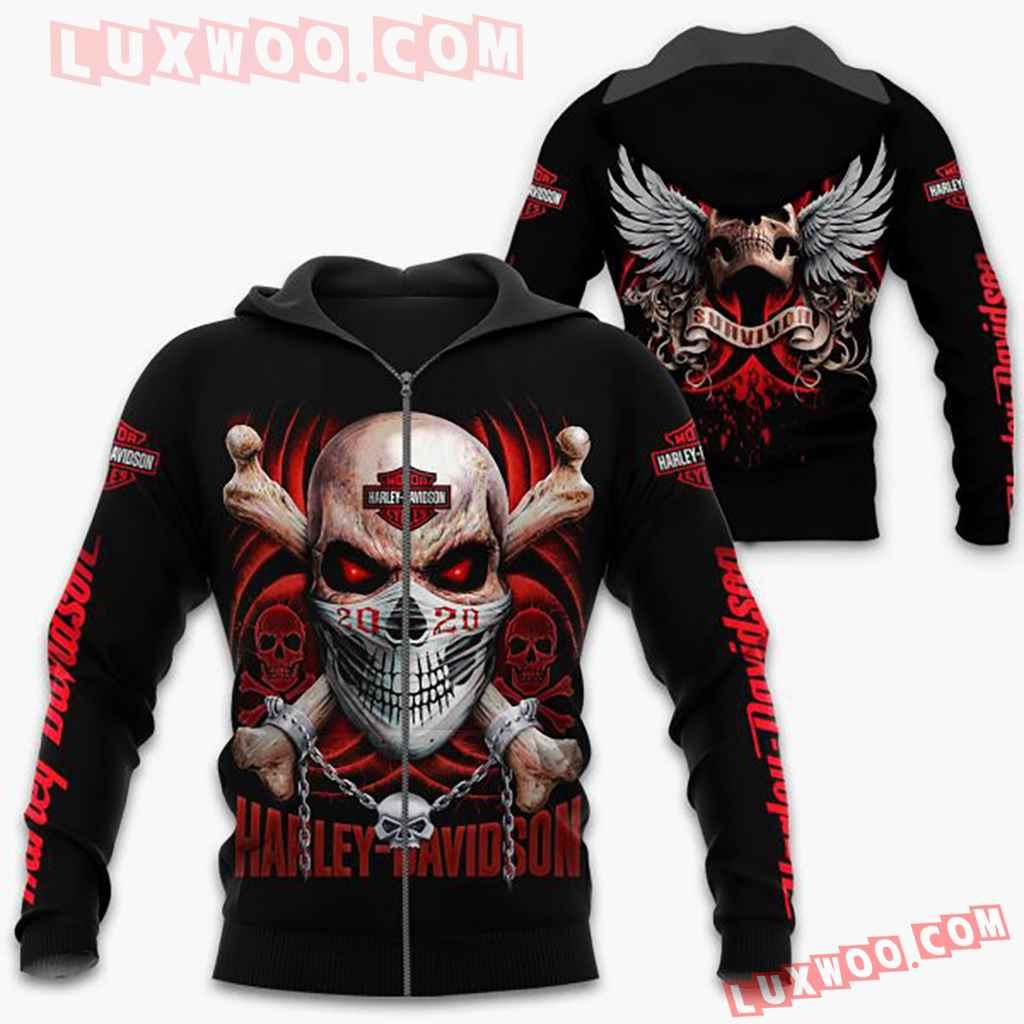 Harley Davidson Motorcycle Red Skull Full All Over Print K3050