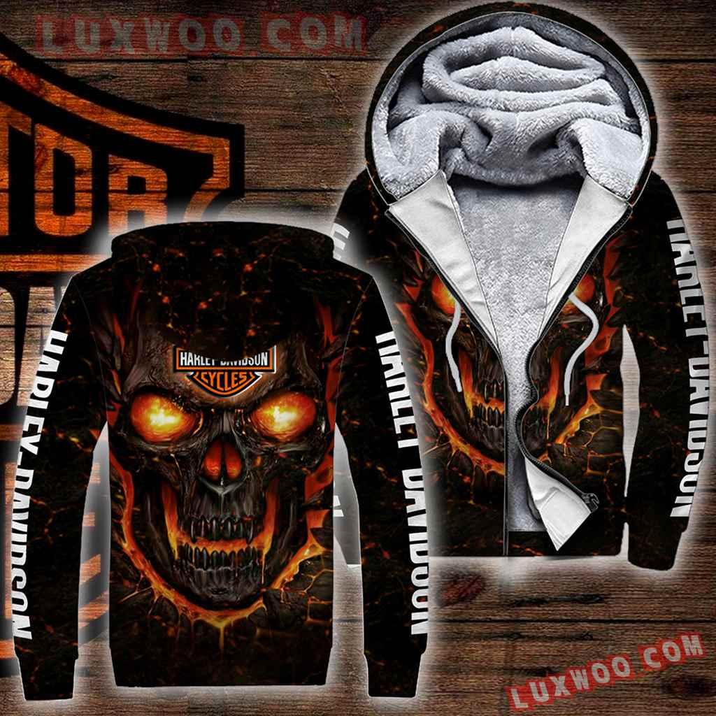Harley Davidson Motorcycle Skull Fleece Zipper Full Over Print 1192