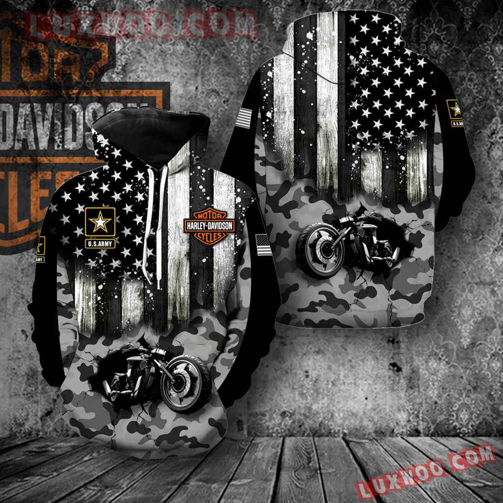 Harley Davidson With Us Army Full All Over Print K1446