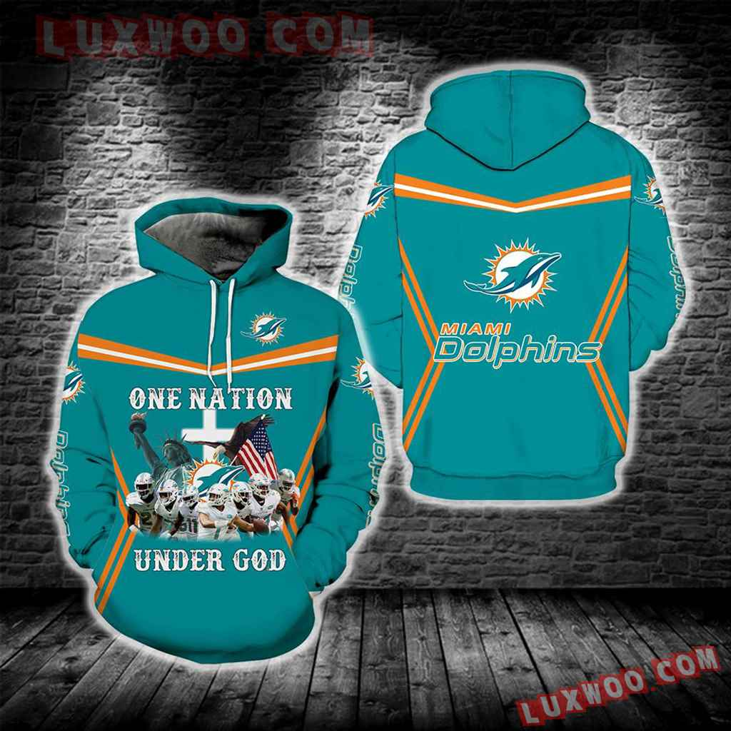 Miami Dolphins One Nation Under God New Full All Over Print S1693