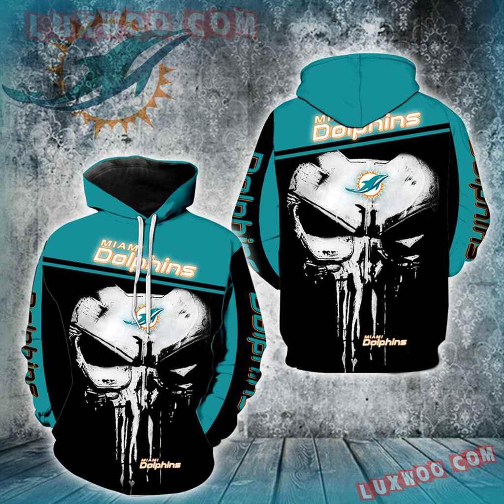 Miami Dolphins Punisher Skull New Full All Over Print V1438