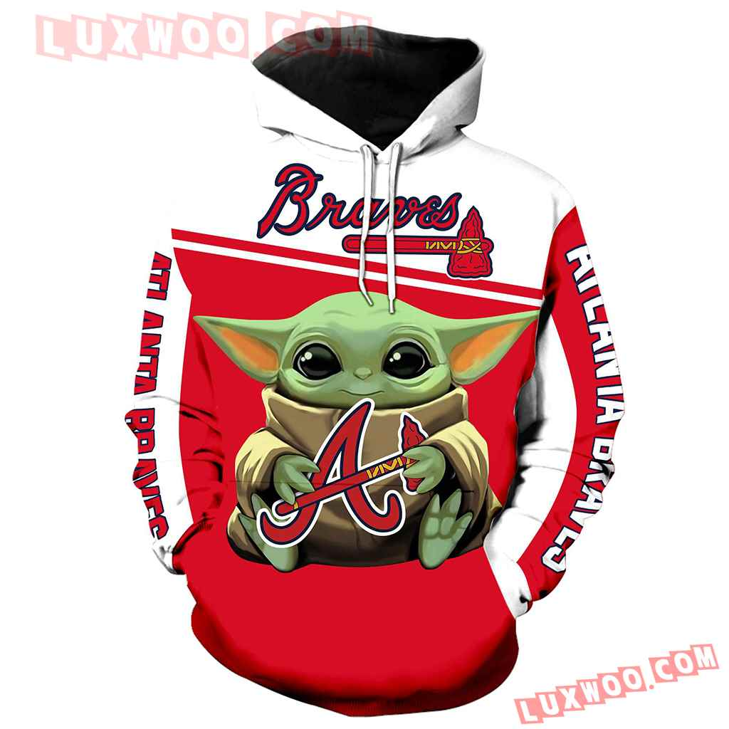 Mlb Atlanta Braves Baby Yoda 3d Hoodie New Full All Over Print K1284