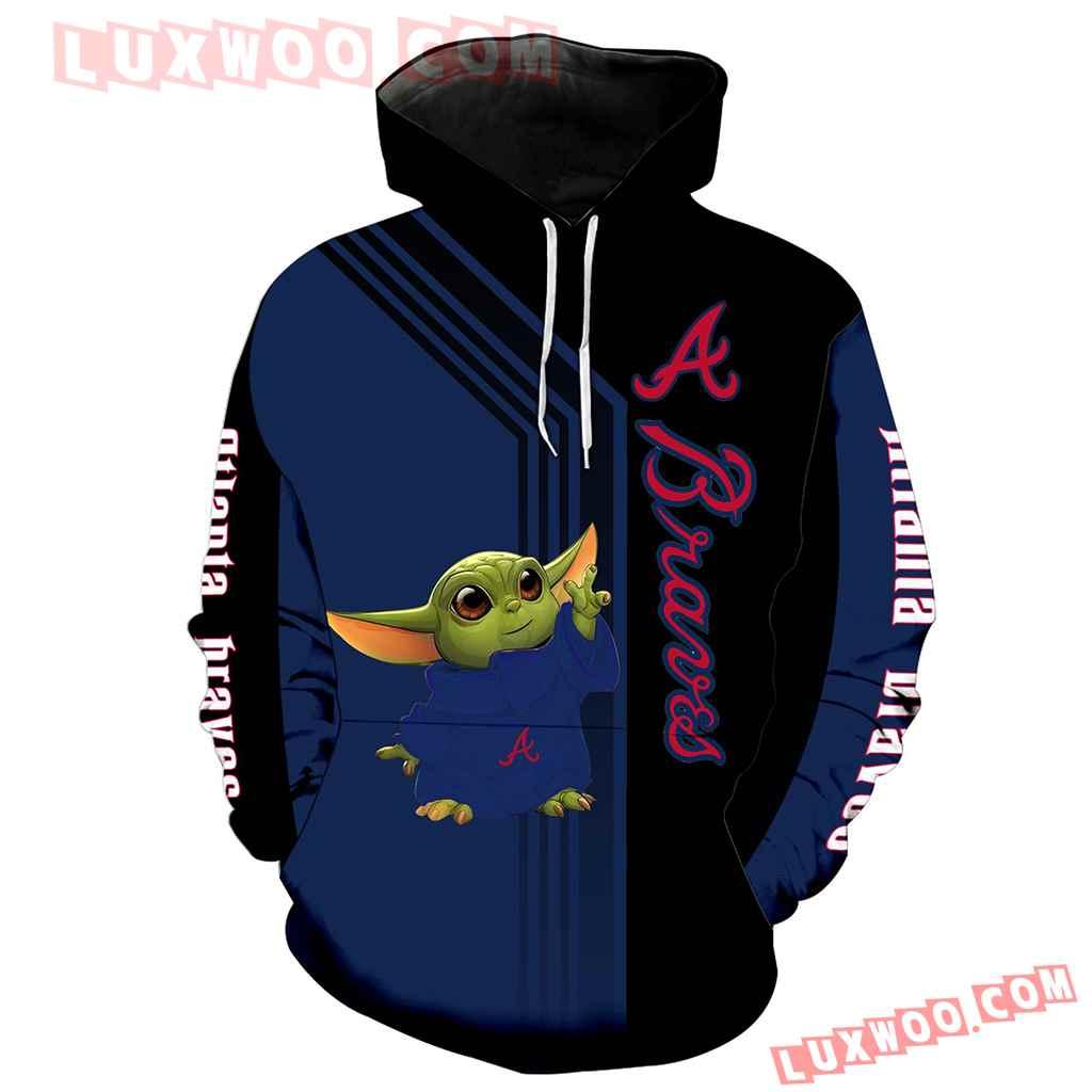 Mlb Atlanta Braves Baby Yoda Green 3d Hoodie New Full All Over Print K1302