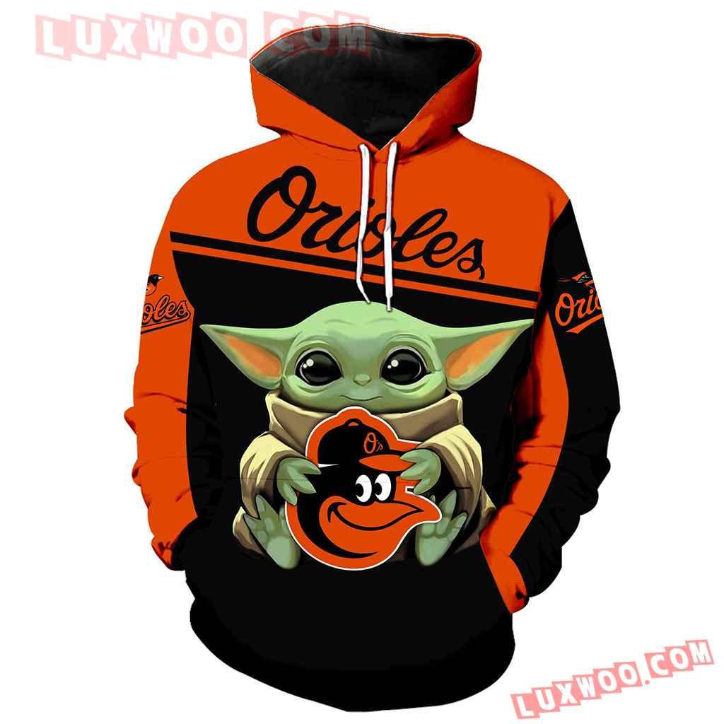 Mlb Baltimore Orioles Baby Yoda 3d Hoodie New Full All Over Print K1336