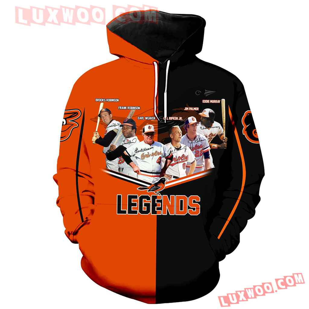 Mlb Baltimore Orioles Legends 3d Hoodie Full Over Print Th1008
