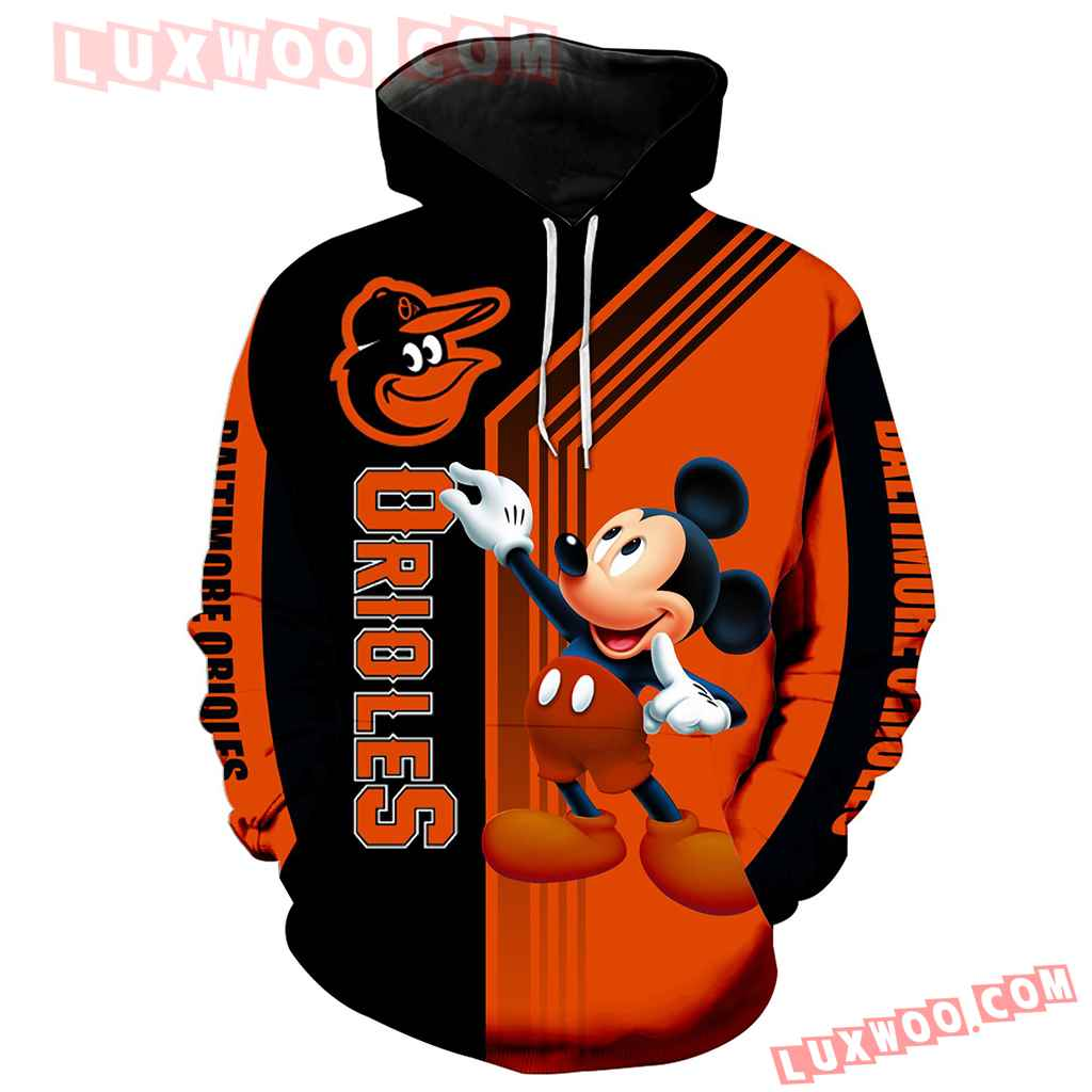 Mlb Baltimore Orioles Mickey Mouse 3d Hoodie New Full All Over Print K1347