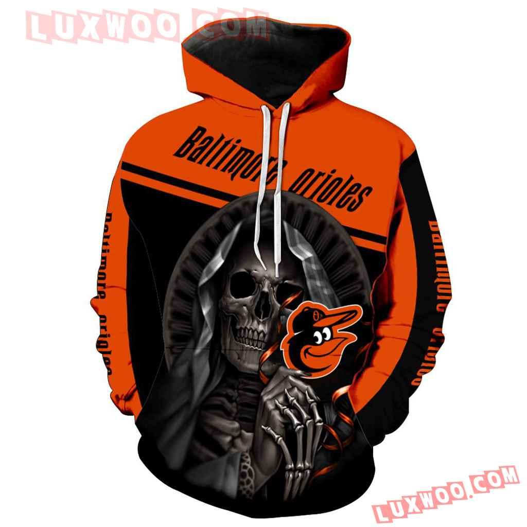 Mlb Baltimore Orioles Skull 3d Hoodie New All Over Print V1234 1