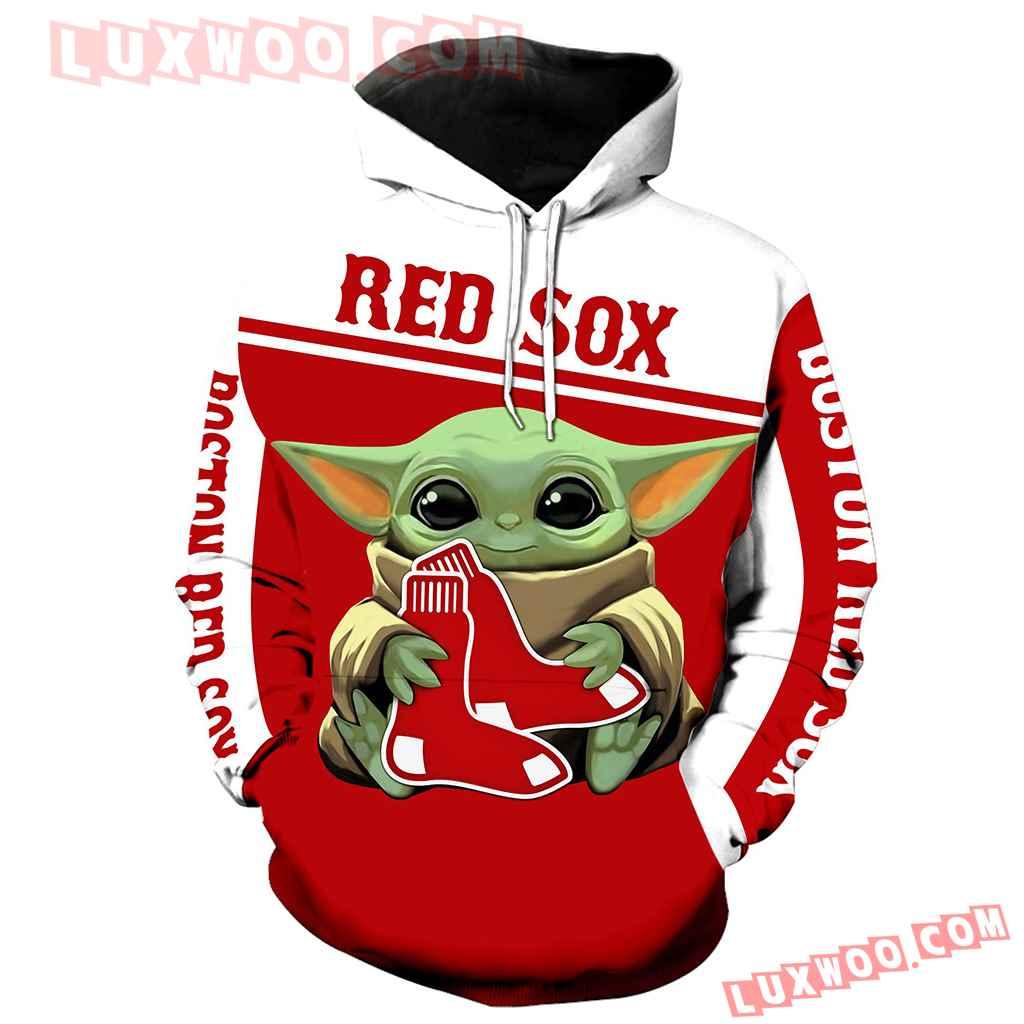 Mlb Boston Red Sox Baby Yoda 3d Hoodie New Full All Over Print K1279 1