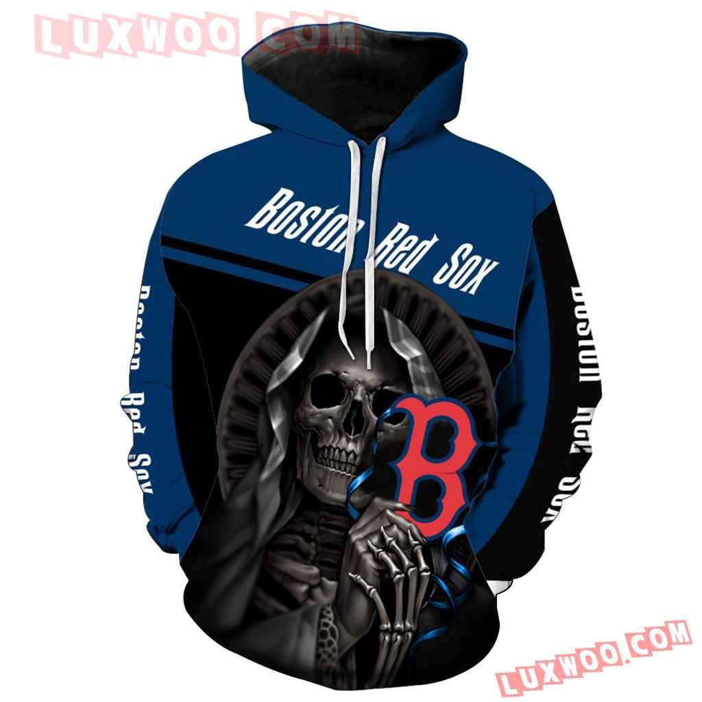 Mlb Boston Red Sox Skull 3d Hoodie New All Over Print V1233 1
