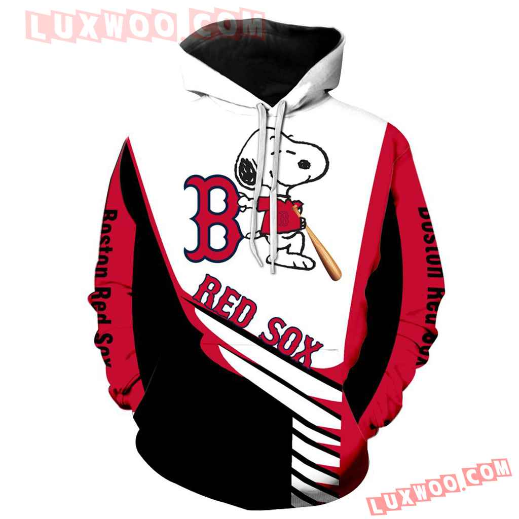 Mlb Boston Red Sox Snoopy 3d Hoodie New All Over Print V1307 1