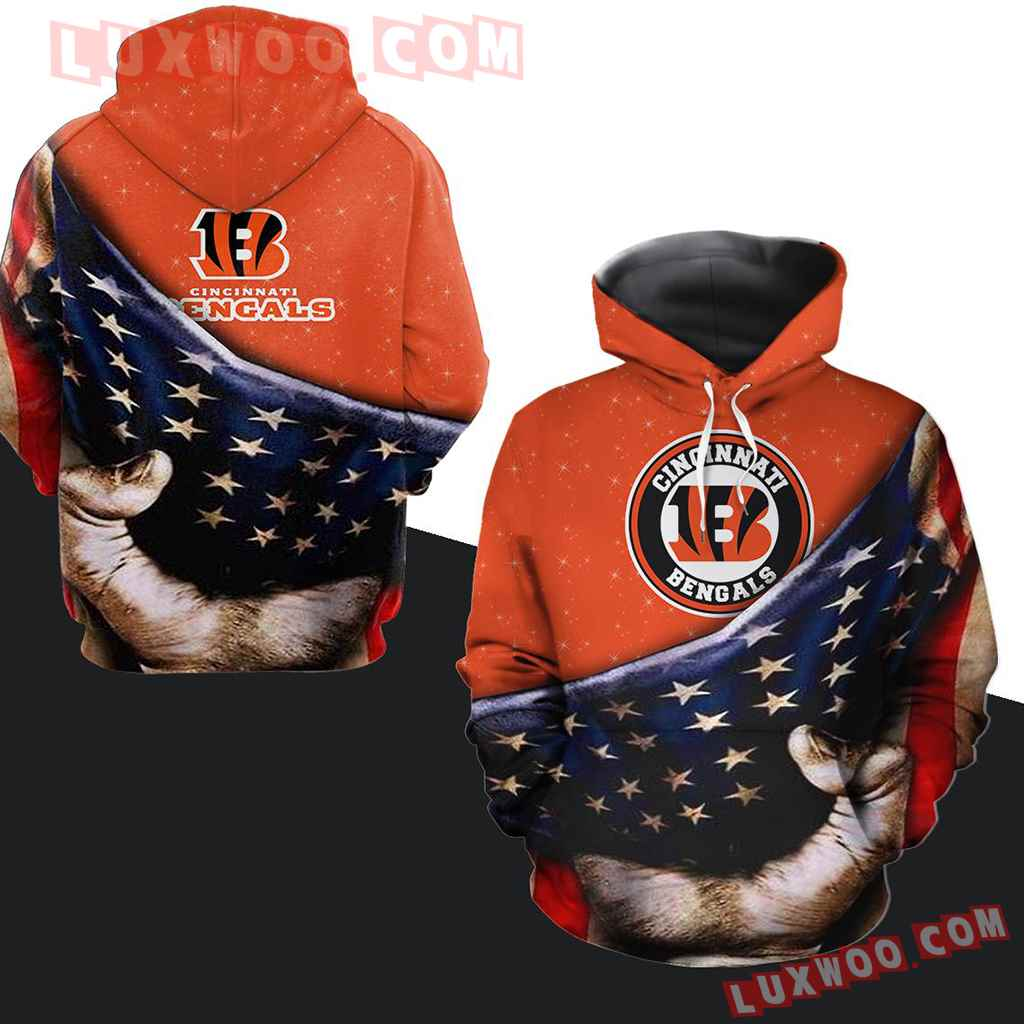 Nfl Cincinnati Bengals Allover Pullover And Zippered Hoodies Custom 3d